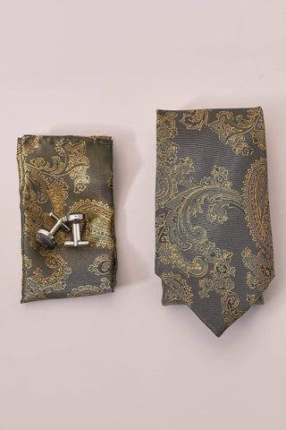 Marc Darcy Tan Paisley Tie, Pocket Square & Cuff Link Set One Size