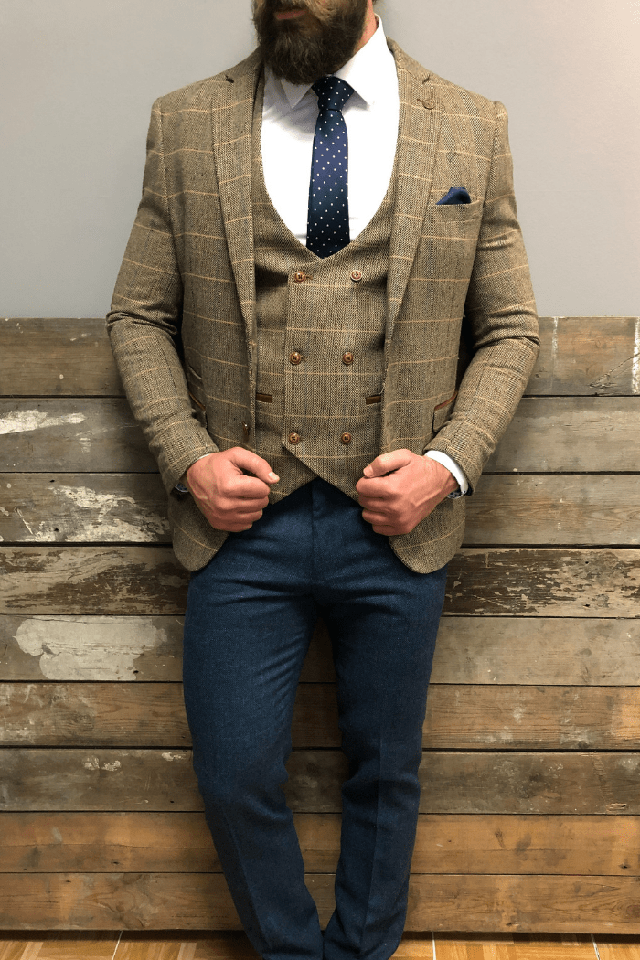 Marc Darcy Ted and Dion combo marc-darcy-ted-tweed-herringbone-check-suit-blazer-tan / marc-darcy-ted-tweed-herringbone-check-double-breasted-tan-waistcoat / marc-darcy-dion-tweed-herringbone-check-trousers-blue