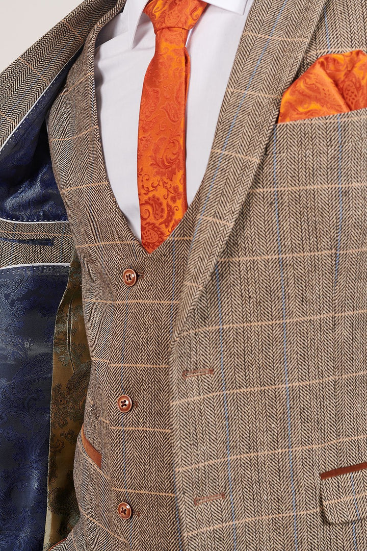 Marc Darcy Ted Tan Tweed Herringbone Check 3 Piece Suit marc-darcy-ted-tweed-herringbone-check-suit-blazer-tan / marc-darcy-ted-tweed-herringbone-check-double-breasted-tan-waistcoat / marc-darcy-ted-tweed-herringbone-check-suit-trousers-tan