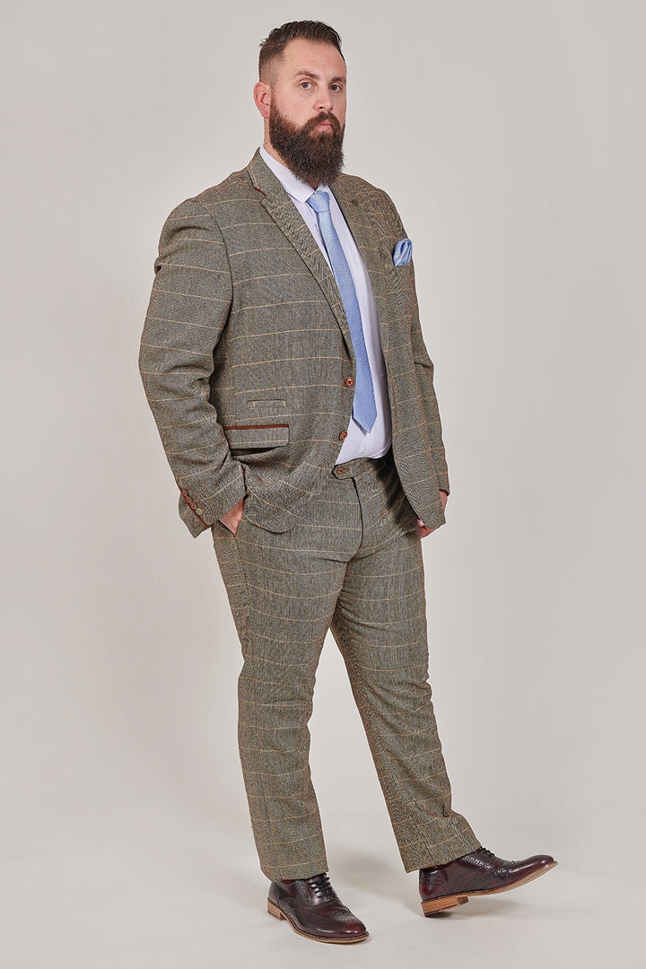 Marc Darcy Marc Darcy Ted Tan Tweed Herringbone Check 3 Piece Suit £224.97