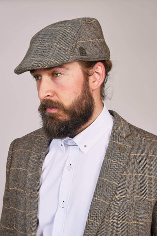 Marc Darcy Ted Tan Tweed Style Herringbone Flat Cap S/M
