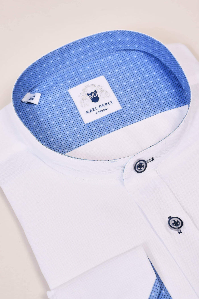 Marc Darcy Marc Darcy White Grandad Shirt With Contrast Buttons £39.99