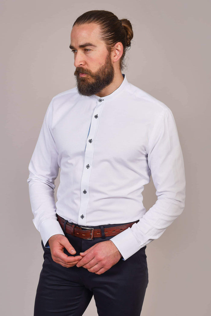Marc Darcy Marc Darcy White Grandad Shirt With Contrast Buttons £20.00