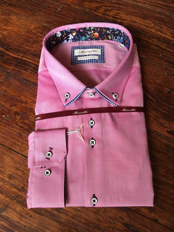 Marnelli Pink Cotton Shirt With Blue Check Button Down Collar Contrast S
