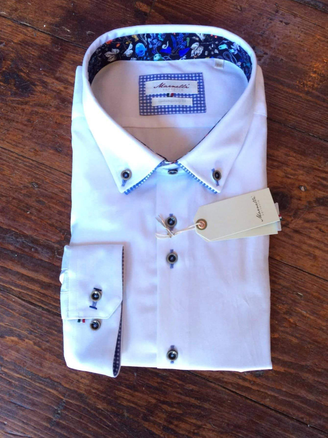 Marnelli White Cotton Shirt With Blue Check Button Down Collar Contrast S