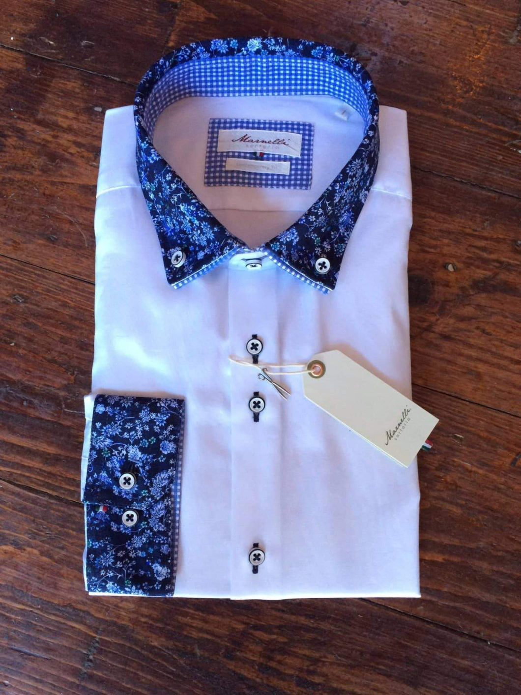 Marnelli White Cotton Shirt With Blue Floral Cut Away Collar And Detailed Cuffs S