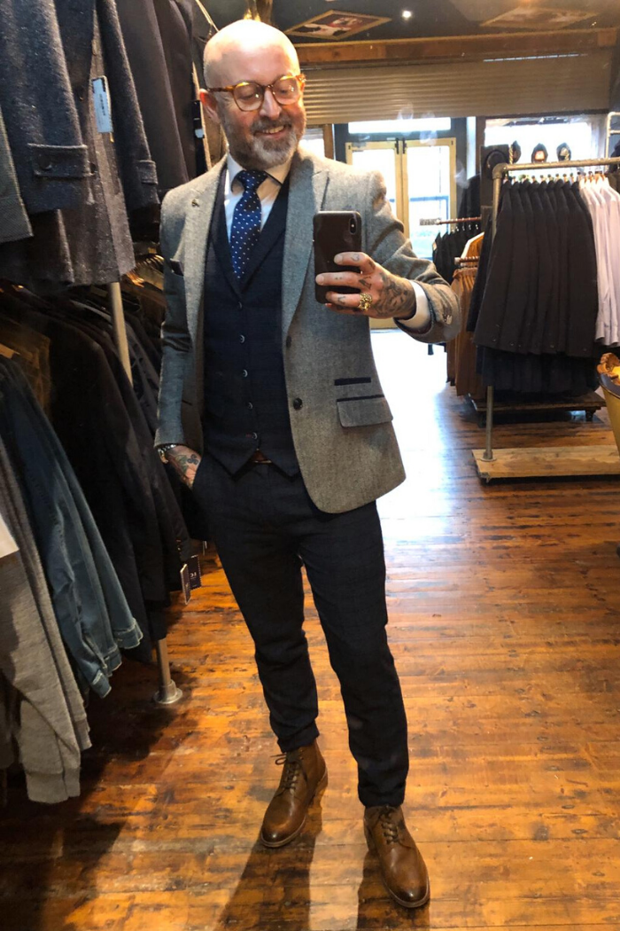 Master Debonair Bruce Blazer with Moriarty 2 Piece master-debonair-bruce-grey-herringbone-tweed-blazer / master-debonair-moriarty-subtle-navy-check-tweed-waistcoat / master-debonair-moriarty-subtle-navy-check-tweed-trousers