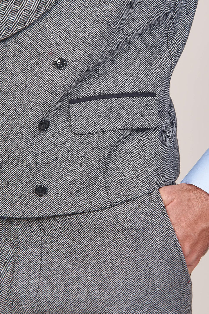 Master Debonair Bruce Grey Herringbone Tweed 3 Piece Suit master-debonair-bruce-grey-herringbone-tweed-blazer / master-debonair-bruce-grey-herringbone-tweed-waistcoat / master-debonair-bruce-grey-herringbone-tweed-trousers