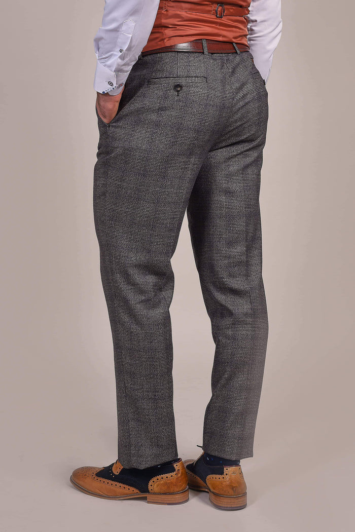 Master Debonair Charcoal Prince Of Wales Check Trousers
