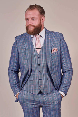Master Debonair Light Blue with Peach Check 3 Piece Suit master-debonair-light-blue-with-peach-check-blazer / master-debonair-light-blue-with-peach-check-blazer-1 / master-debonair-light-blue-with-peach-check-trousers