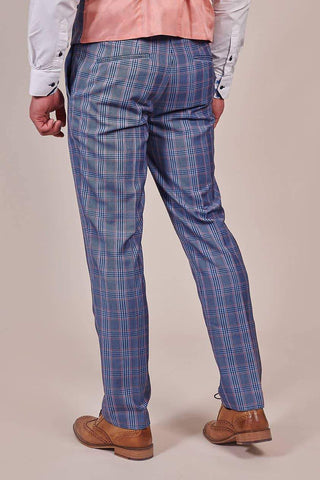 Master Debonair Master Debonair Light Blue with Peach Check Trousers £18.00