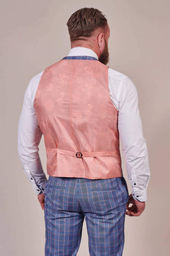 Master Debonair Master Debonair Light Blue with Peach Check Waistcoat £19.60
