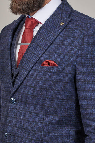 PRE SALE - Master Debonair Moriarty Subtle Navy Check Tweed 3 Piece Suit pre-sale-master-debonair-moriarty-subtle-navy-check-tweed-blazer / pre-sale-master-debonair-moriarty-subtle-navy-check-tweed-waistcoat / pre-sale-master-debonair-moriarty-subtle-navy-check-tweed-trousers