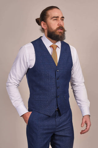 Master Debonair Navy Faint Check Waistcoat 34R / Navy