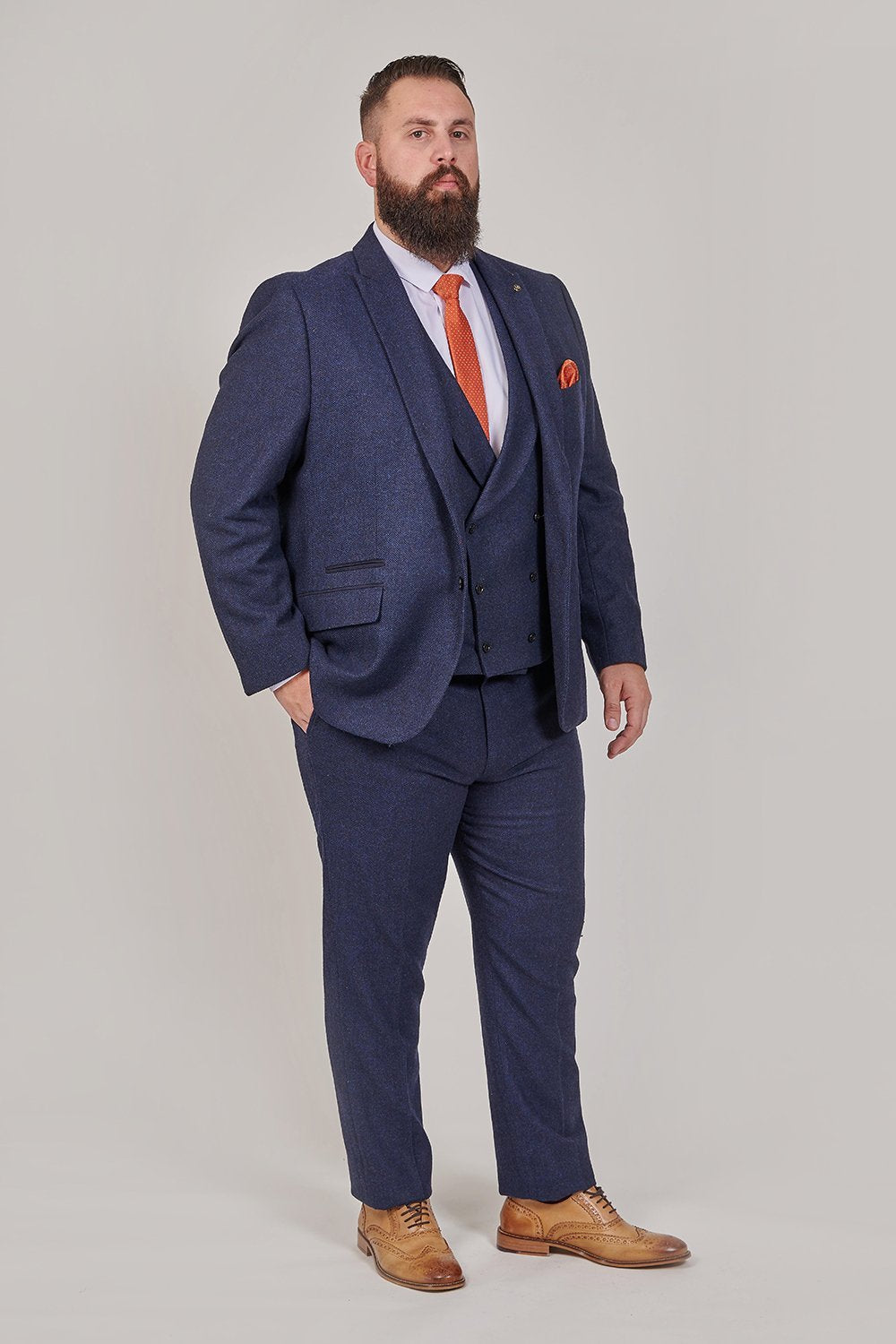 Master Debonair Rathbone Navy Herringbone Tweed 3 Piece Suit master-debonair-rathbone-navy-herringbone-tweed-blazer / master-debonair-rathbone-navy-herringbone-tweed-waistcoat / master-debonair-rathbone-navy-herringbone-tweed-trousers