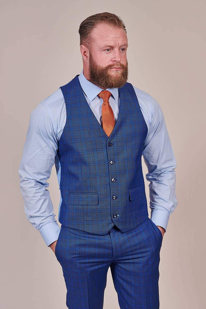 Master Debonair Royal Blue Check 3 Piece Suit master-debonair-royal-blue-check-blazer / master-debonair-royal-blue-check-waistcoat / master-debonair-royal-blue-check-trousers
