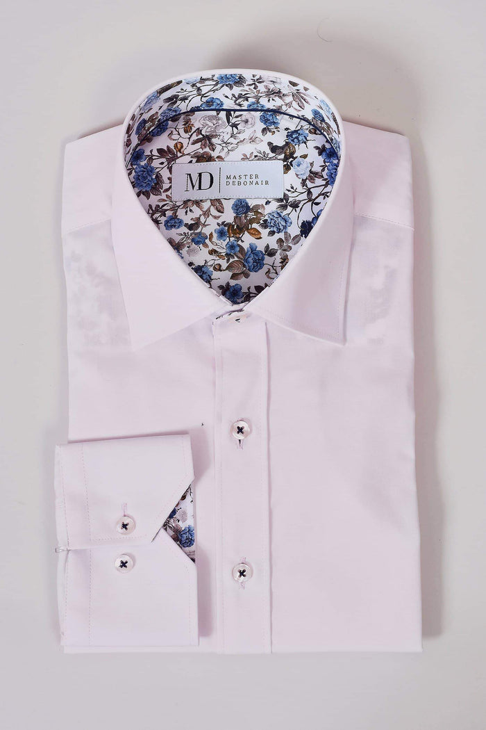 Master Debonair Soft Pink Shirt With Floral Trim