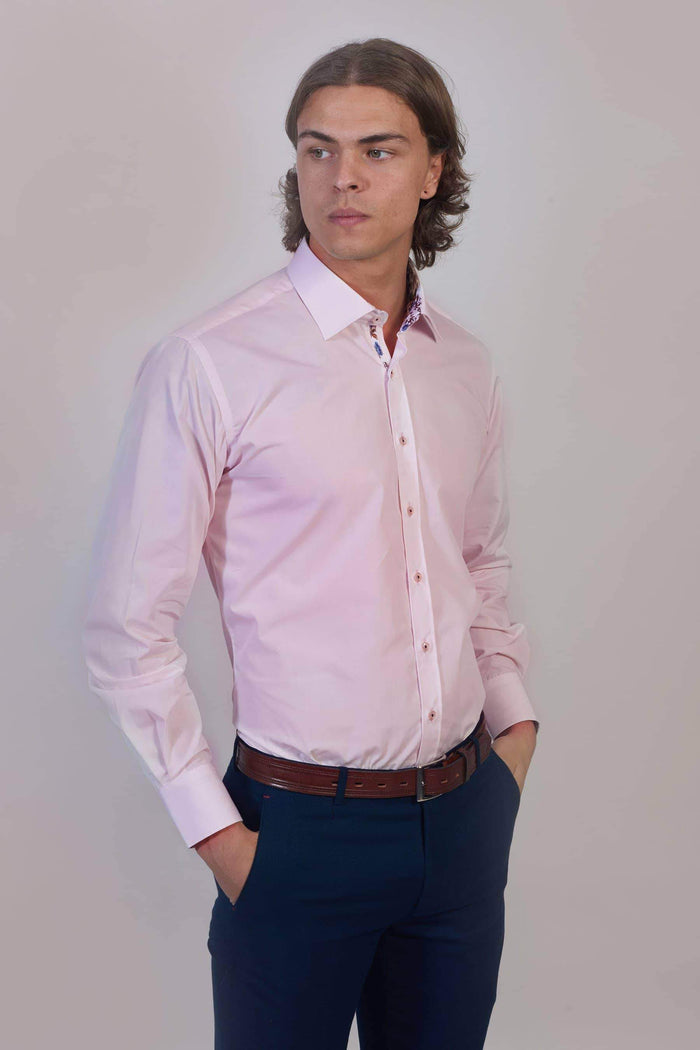 Master Debonair Soft Pink Shirt With Floral Trim S