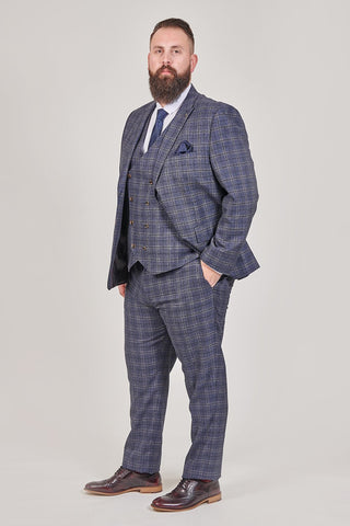 Master Debonair Master Debonair Watson Navy And Tan Check Tweed 3 Piece Suit £224.97