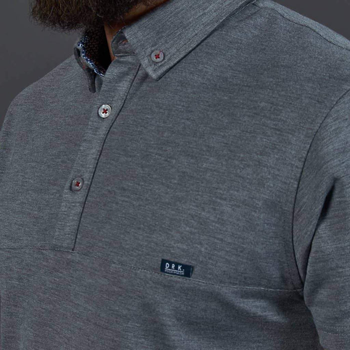 Mish Mash Grey Button Down Collar Polo Shirt