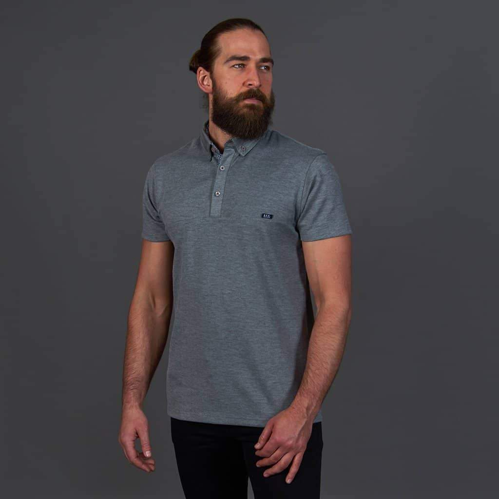 Mish Mash Grey Button Down Collar Polo Shirt S / Grey