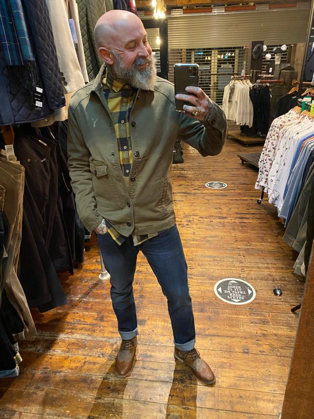 Mish Mash Utility Jacket Look pearly-king-weld-utility-jacket-khaki / mish-mash-mustard-check-flannel-shirt / mish-mash-1984-mustang-dark-wash-tapered-fit-jeans