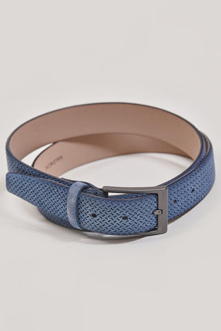 Monti Suede Leather Embossed Blue Belt