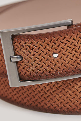 Monti Suede Leather Embossed Brown Belt