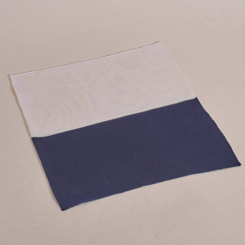 Navy And White 2 Way Silk Knitted Pocket Square