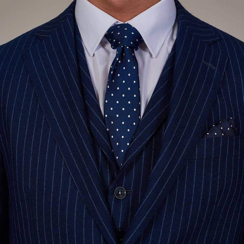 Navy And White Spots Woven Silk Pocket Square Navy