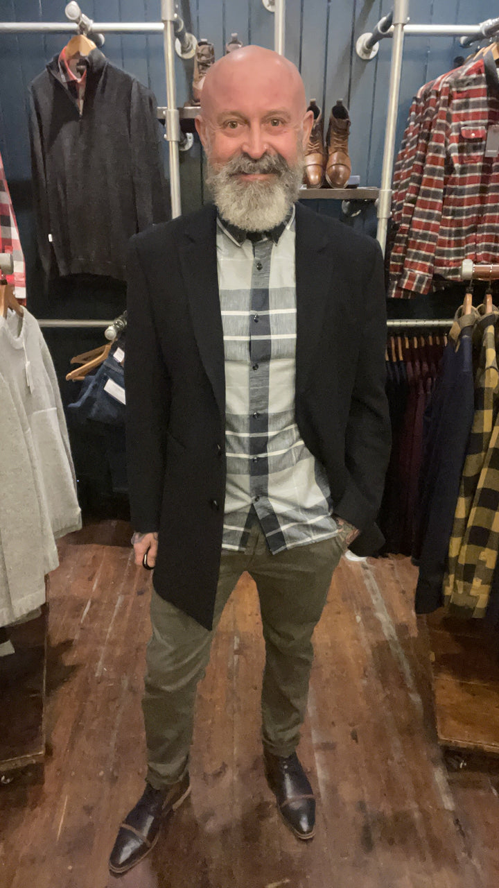 Navy Check Shirt With Khaki Chinos Look skopes-fairlop-navy-overcoat / mish-mash-navy-flannel-check-shirt / mish-mash-1984-bromley-khaki-chino