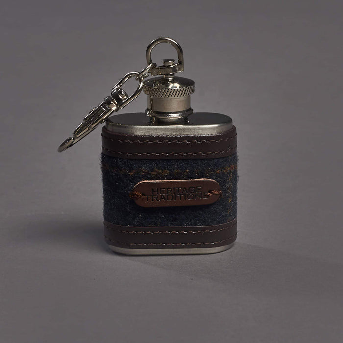 Navy Check Tweed 1oz Hipflask Key ring