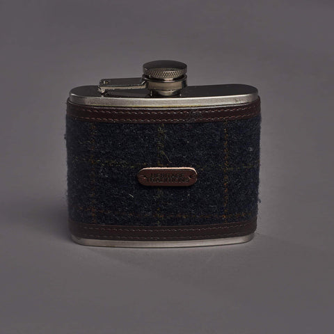 Navy Check Tweed 4oz Hipflask