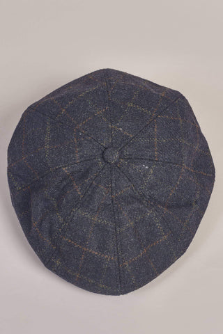 Navy Check Tweed Peaky Stud Newsboy Cap One Size