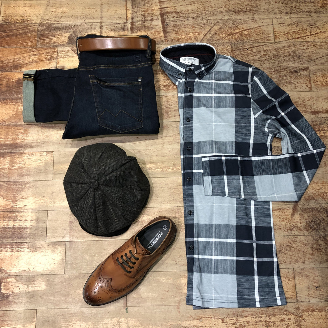 Navy Flannel Check Shirt With Mid Wash Jeans Look mish-mash-navy-flannel-check-shirt / mish-mash-1984-reece-mid-denim-tapered-fit-jeans / roamers-tan-chunky-brogues