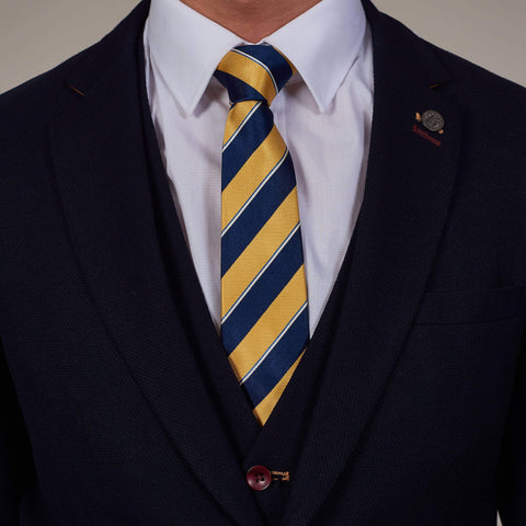 Navy, Gold And White Diagonal Stripe Silk Tie Gold