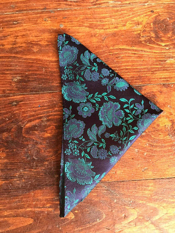Navy/Green Floral Pure Silk Pocket Square