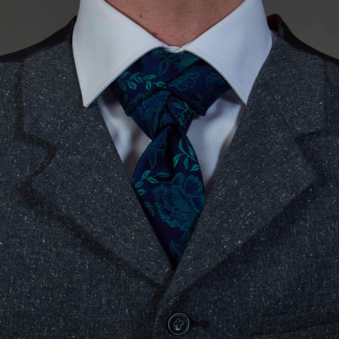 Navy/Green Floral Pure Silk Tie