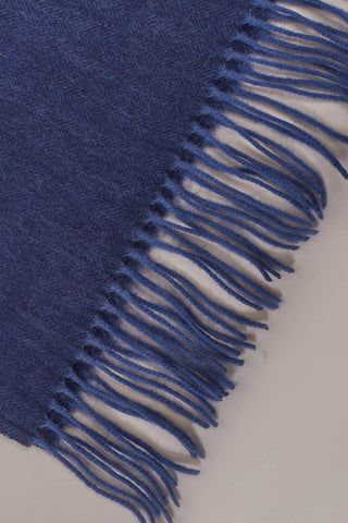Navy Herringbone Wool Scarf