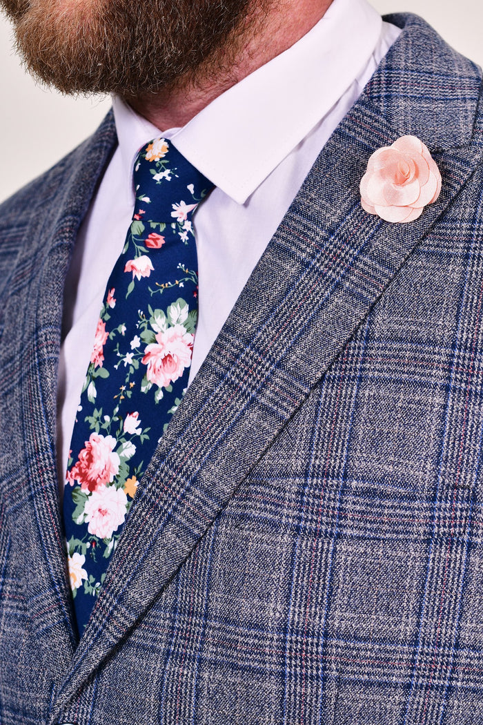 Navy Liberty Print Tie & Peach Lapel Pin Set Navy