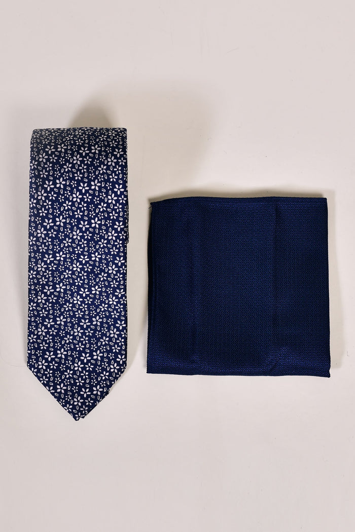 Navy Mini Floral Tie & Pocket Square Set Navy