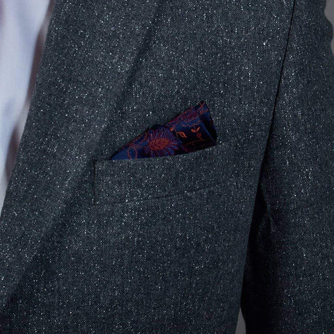 Navy/Orange Pure Silk Pocket Square