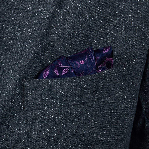Navy/Pink Floral Pure Silk Pocket Square