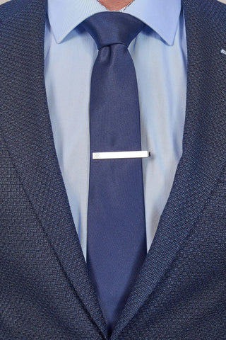Navy Plain Tie, Pocket Square & Tie Clip Set Navy