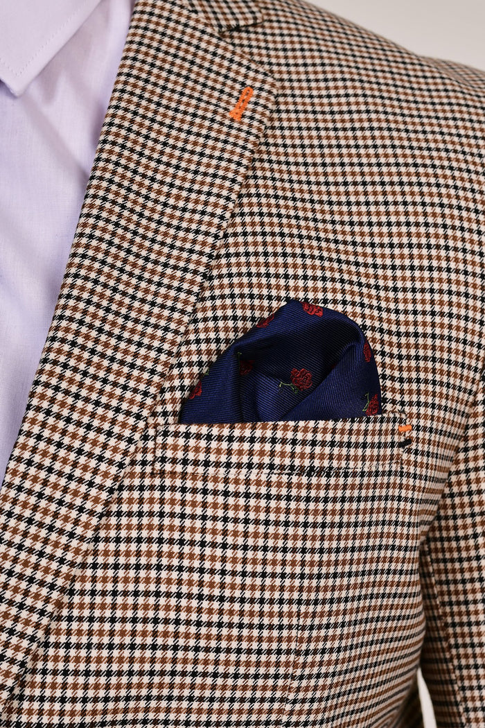 Navy Plain Tie & Rose Pocket Square Navy