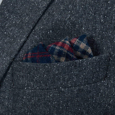 Navy/Red Check Tweed Pocket Square
