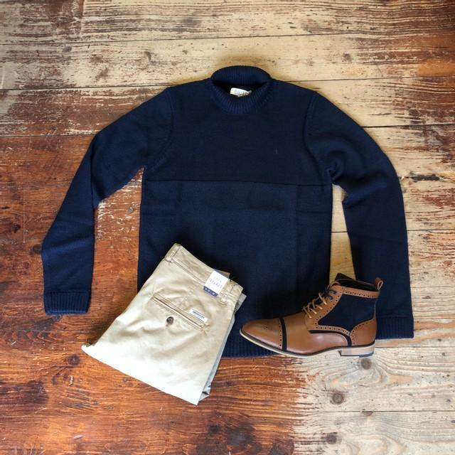 Navy Roll Neck & Chinos Look pearly-king-earthling-navy-low-turtle-neck-jumper / mish-mash-1984-bromley-stone-chino / cavani-modena-tan-boots