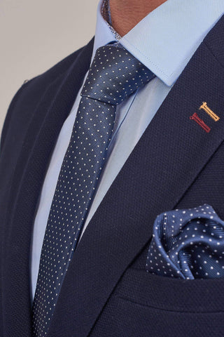 Navy Spotted Tie, Pocket Square & Tie Clip Set Navy