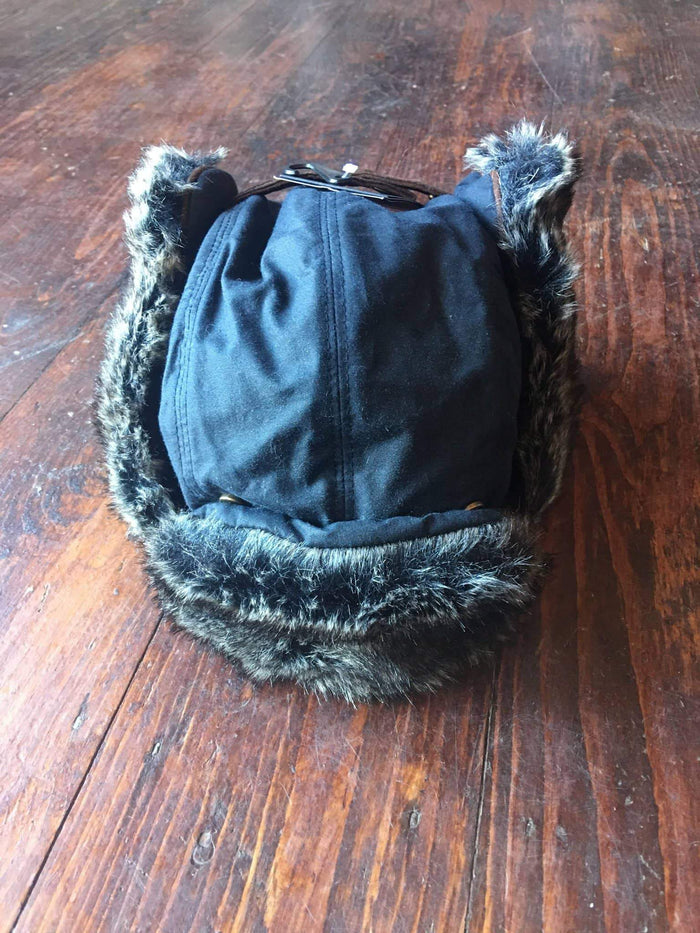 Navy Wax Trapper Hat With Fur Trim
