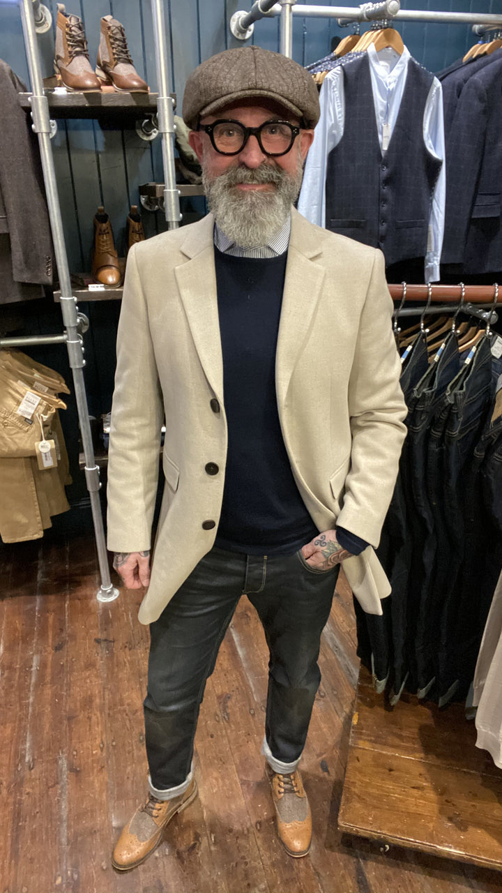 Oatmeal Overcoat Layered Look skopes-zack-brown-8-piece-bakerboy-cap / skopes-fairlop-oatmeal-overcoat / casual-friday-navy-crew-neck-wool-jumper